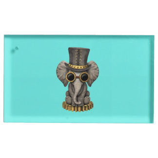 Cute Steampunk Baby Elephant Cub Table Number Holder