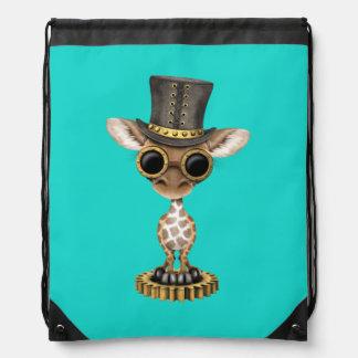 Cute Steampunk Baby Giraffe Drawstring Bag