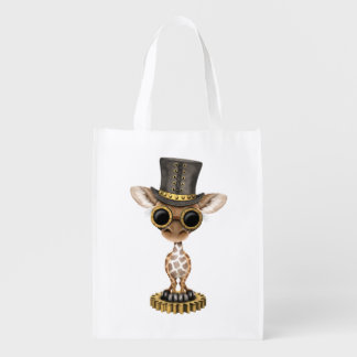 Cute Steampunk Baby Giraffe Reusable Grocery Bag