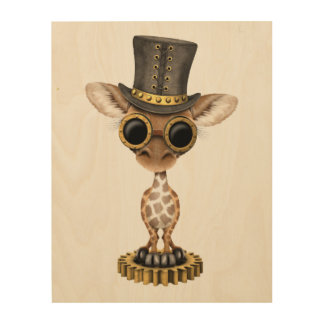 Cute Steampunk Baby Giraffe Wood Wall Art