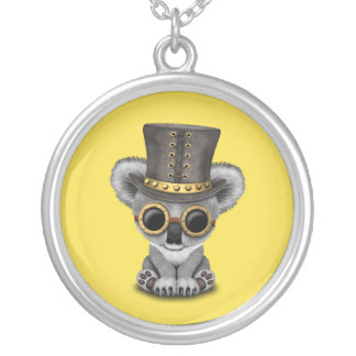 Cute Steampunk Baby Koala Bear Silver Plated Necklace