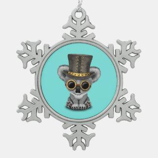 Cute Steampunk Baby Koala Bear Snowflake Pewter Christmas Ornament