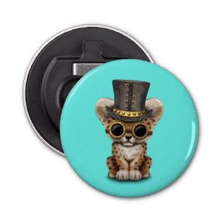 Cute Steampunk Baby Leopard Cub Bottle Opener
