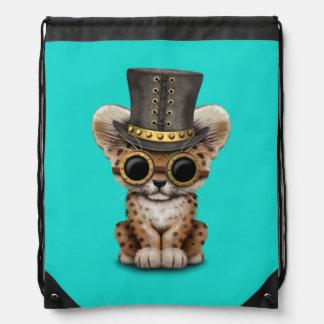 Cute Steampunk Baby Leopard Cub Drawstring Bag