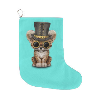 Cute Steampunk Baby Leopard Cub Large Christmas Stocking