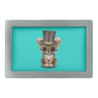 Cute Steampunk Baby Leopard Cub Rectangular Belt Buckle