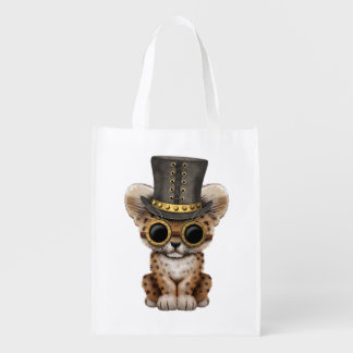 Cute Steampunk Baby Leopard Cub Reusable Grocery Bag