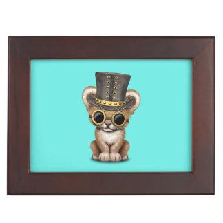 Cute Steampunk Baby Lion Cub Keepsake Box