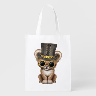 Cute Steampunk Baby Lion Cub Reusable Grocery Bag