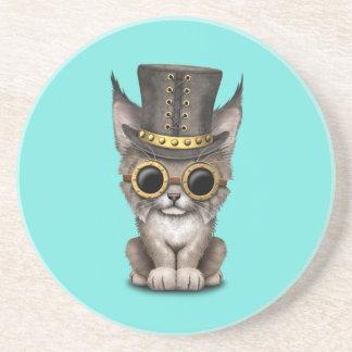 Cute Steampunk Baby Lynx Cub Coaster