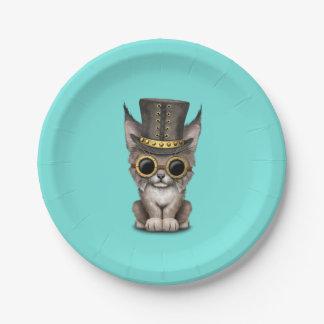 Cute Steampunk Baby Lynx Cub Paper Plate