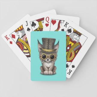 Cute Steampunk Baby Lynx Cub Playing Cards