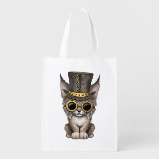 Cute Steampunk Baby Lynx Cub Reusable Grocery Bag