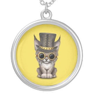 Cute Steampunk Baby Lynx Cub Silver Plated Necklace