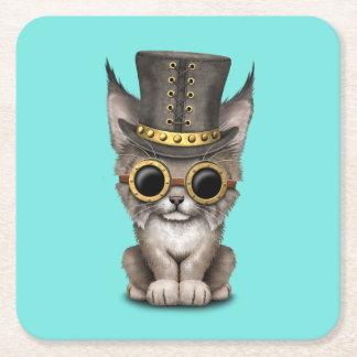 Cute Steampunk Baby Lynx Cub Square Paper Coaster