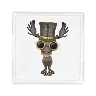 Cute Steampunk Baby Moose Acrylic Tray
