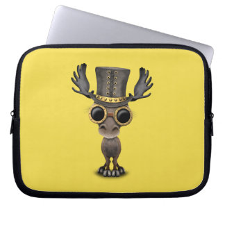 Cute Steampunk Baby Moose Laptop Sleeve