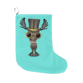 Cute Steampunk Baby Moose Large Christmas Stocking