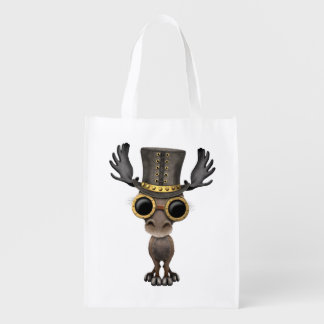 Cute Steampunk Baby Moose Reusable Grocery Bag