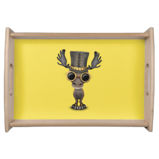 Cute Steampunk Baby Moose Serving Tray