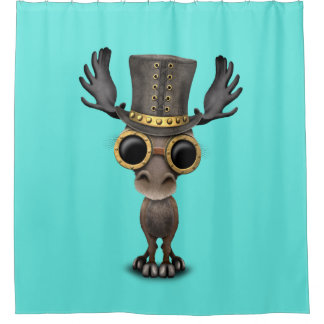 Cute Steampunk Baby Moose Shower Curtain