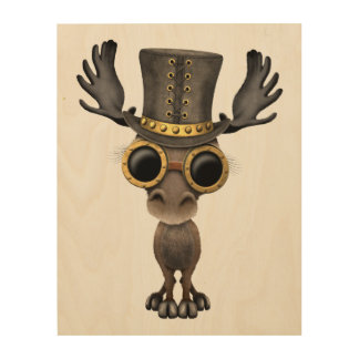 Cute Steampunk Baby Moose Wood Wall Decor