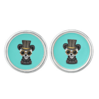 Cute Steampunk Baby Panda Bear Cub Cuff Links