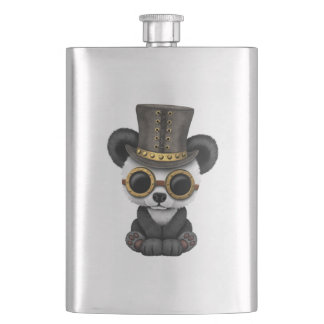 Cute Steampunk Baby Panda Bear Cub Hip Flask