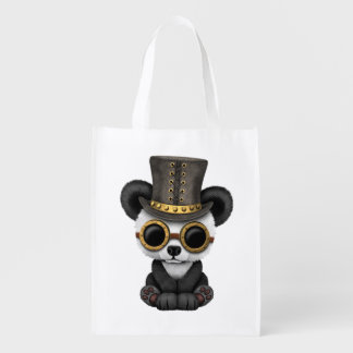Cute Steampunk Baby Panda Bear Cub Reusable Grocery Bag