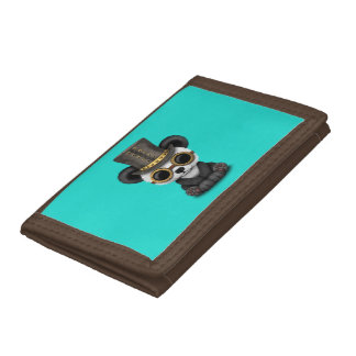 Cute Steampunk Baby Panda Bear Cub Trifold Wallets