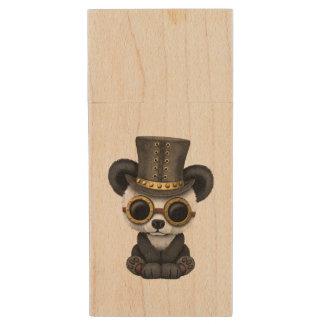 Cute Steampunk Baby Panda Bear Cub Wood USB Flash Drive