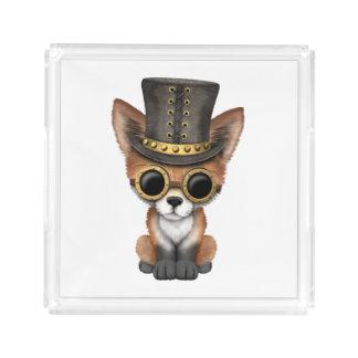 Cute Steampunk Baby Red Fox Acrylic Tray