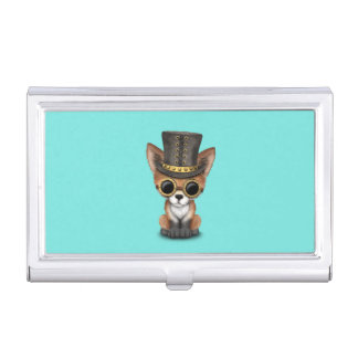 Cute Steampunk Baby Red Fox Business Card Holder