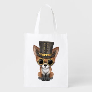 Cute Steampunk Baby Red Fox Reusable Grocery Bag