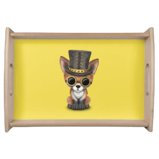 Cute Steampunk Baby Red Fox Serving Tray