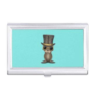 Cute Steampunk Baby Sea Lion Business Card Holder