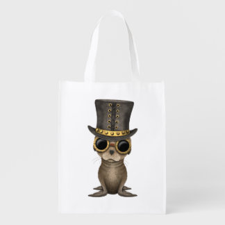 Cute Steampunk Baby Sea Lion Reusable Grocery Bag