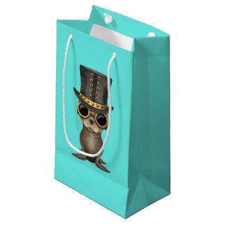 Cute Steampunk Baby Sea Lion Small Gift Bag
