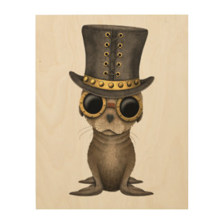 Cute Steampunk Baby Sea Lion Wood Print