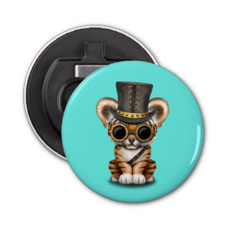 Cute Steampunk Baby Tiger Cub Bottle Opener