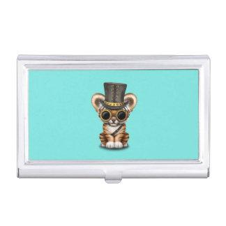 Cute Steampunk Baby Tiger Cub Business Card Holder