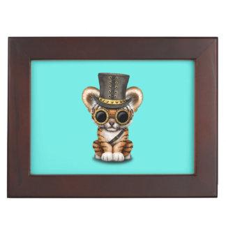 Cute Steampunk Baby Tiger Cub Keepsake Box