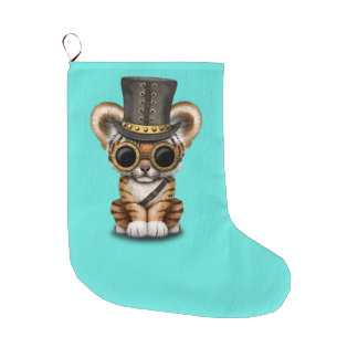 Cute Steampunk Baby Tiger Cub Large Christmas Stocking