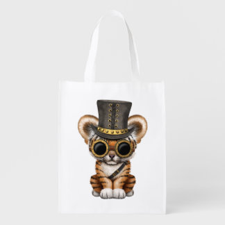 Cute Steampunk Baby Tiger Cub Reusable Grocery Bag
