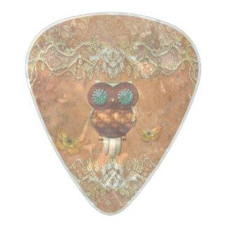 Cute steampunk owl pearl celluloid guitar pick