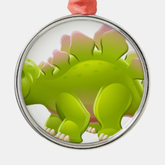 Cute Stegosaurus Cartoon Dinosaur Metal Ornament
