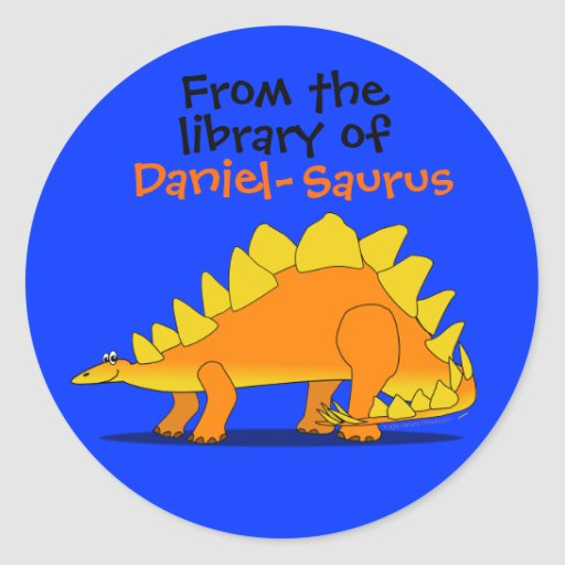 Cute Stegosaurus Dinosaur Custom Name Book Plate Sticker