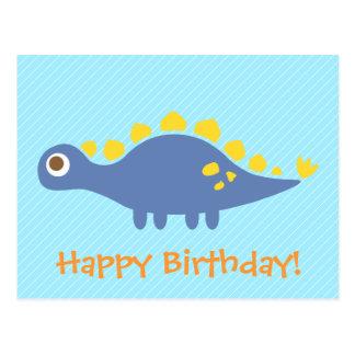 Cute Stegosaurus dinosaur kids happy birthday Postcard
