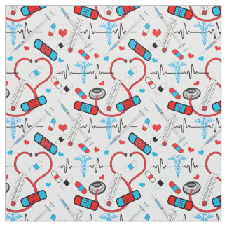 Cute Stethoscope Nurse | Doctor EKG Pattern Fabric
