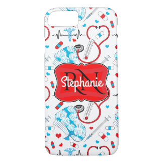 Cute Stethoscope Nurse | Doctor EKG Pattern Name iPhone 8/7 Case